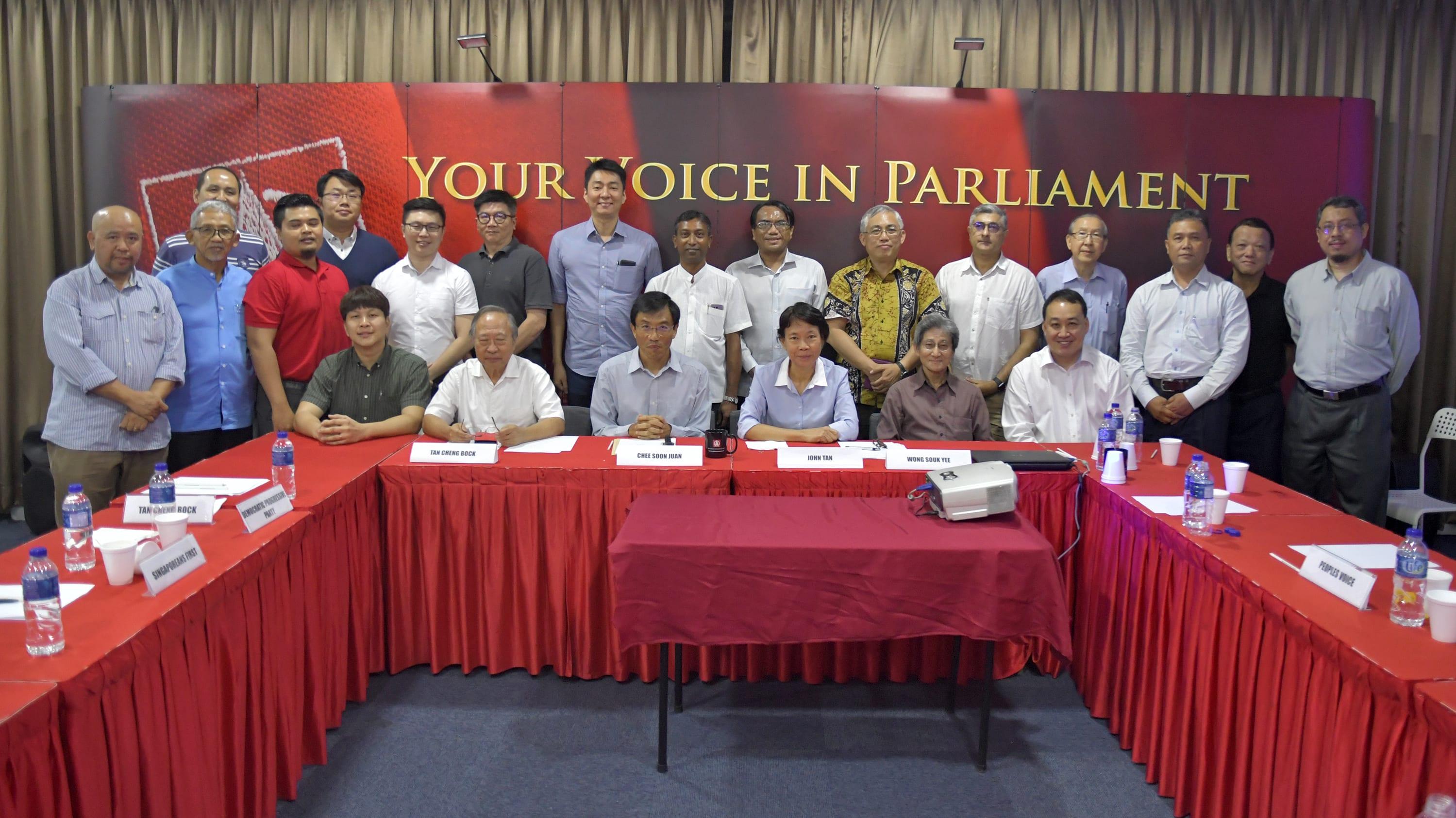 2018年7月,新加坡七个反对党的成员探讨成立反对党联盟。